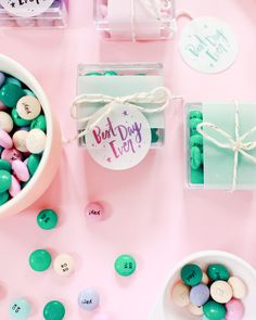 DIY wedding shower favors with colorful @mymms and Printable Party Favor Tags / Favor Tag Design by Swiss Cottage Designs / Oh So Beautiful Paper