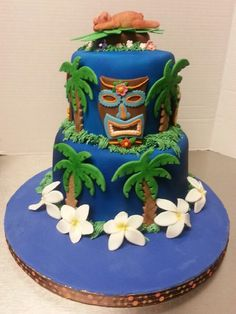 Hawaiian Luau Cakes | Tiki cake is for our luau themed Family Reunion 2012. Cake inspired by ...