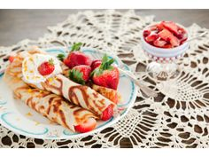 Old Fashioned Crepes with Fresh Strawberry Compote and Grand Marnier Whipped Cream