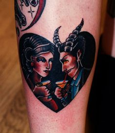 Date with the devil #devil #traditionaltattoo #newtraditional #lady #satan #heart #london