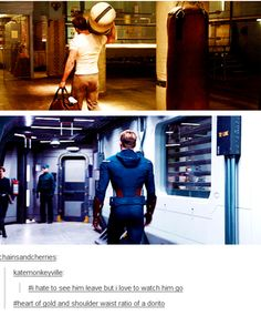 Tumblr loves Chris Evans. Shoulder to waist ratio of a dorito. I love it.