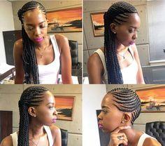 Side cornrows and braid, black girl hair, braid styles