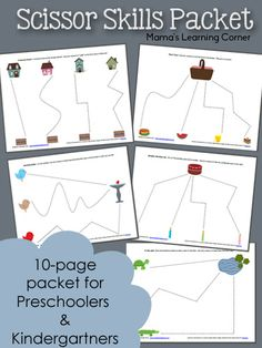 Free 10-page packet of Preschool Scissor Skills! Several different themes available.