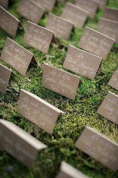 Place cards on a bed of grass sod at a wedding reception | Green Grass Wedding Reception Details For Spring