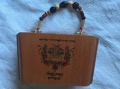 Cigar Box Purse, Beaded Handle w/Angled Wood Box Design by Arturo Fuente Cigars #CigarBox #Satchel