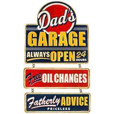Dad's Garage Embossed Hanging Tin Sign