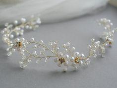 Items similar to Bridal Crown, Crystal Astilbe Flower Crown, Crystal Crown, Bridal Headpiece, Bridal Halo - Style 3715 on Etsy Bridal Hair Vine, Bridal Crown, Bridal Tiara, Bridal Headpieces, Pearl Bridal, Wedding Hair, Grecian Hairstyles, Crown Hairstyles, Pearl Headpiece