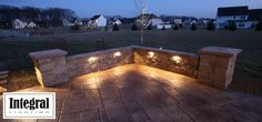 Wall/patio ideas. Love the lighting too!