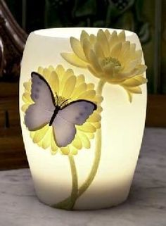 Blue Butterfly & Gerber Daisy Night Lamp by Ibis & Orchid #55008 Ibis & Orchid