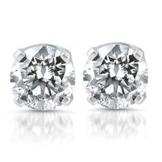 93cc13d191ec 1 4 ct Round Diamond Studs Solitaire Earrings 14K White Gold. This pair of  round brilliant cut ...