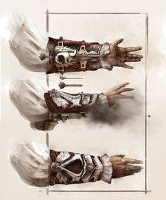 Assassins Creed II. Hidden Gun and Hidden Blade concept art designs.