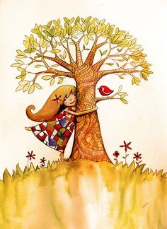 Tree Hugs art by Karin Taylor, available on prints and cards from online store… Art And Illustration, Abraham Hicks, Whimsical Art, Art Plastique, Tree Art, Belle Photo, Clipart, Zentangle, Cool Pictures