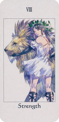 VIII Strength Tarot Card - Tactics Ogre: Let Us Cling Together by Akihiko Yoshida