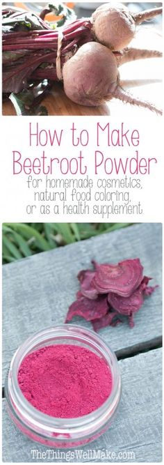 out how to make beetroot powder for your homemade cosmetics, food colorings, or as a healthy supplement to your diet.Find out how to make beetroot powder for your homemade cosmetics, food colorings, or as a healthy supplement to your diet. Beetroot Powder, Natural Food Coloring, Homemade Cosmetics, Diy Vegan Cosmetics, Dehydrated Food, Dehydrator Recipes, Homemade Beauty Products, Organic Food Products, Beauty Recipe