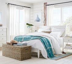 Need bedroom inspiration? Shop Pottery Barn for stylish bedroom furniture and decor. Create an warm and cozy bedroom oasis with quality bedding in classic styles and colors. Beach Furniture Decor, Beach Bedroom Decor, Bedroom Furniture, Bedroom Ideas, Bedroom Inspiration, Beach Bedding, Wicker Furniture, Bedroom Designs, Furniture Plans