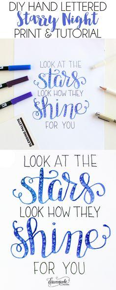 DIY Starry Night Hand Lettering Tutorial + Video   dawnnicoledesigns.com