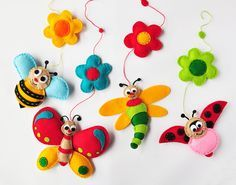 IKO Plush Insects Baby Mobile - Crib Mobile - Nursery Insects Mobile - Felt…