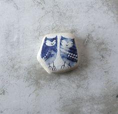 Tiny Blue Beach Pottery Twin Owls by LillaJizo on Etsy, $60.00