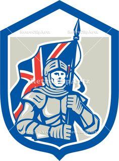 armor, artwork, banner, British, crest, flag, graphics, helmet, holding, illustration, isolated, knight, male, man, medieval, retro, shield,...