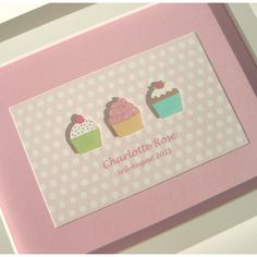 Girls Cupcakes Personalised Nursery Picture  £22.00