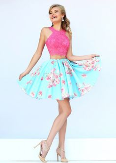 Homecoming two piece pink blue lace and skater skirt cute dresses