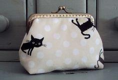 Black cat purse black and white purse cat purse cat by Tresgats