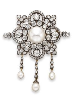 AN ANTIQUE PEARL AND DIAMOND BROOCH, CIRCA Centring upon a button-shaped pearl, measuring approximately x mm, within an openwork old mine-cut diamond foliate plaque, suspending diamond tassels terminating with three drop-shaped pea Gems Jewelry, Charm Jewelry, Silver Jewelry, Fine Jewelry, Royal Jewelry, Gold Jewellery, Silver Earrings, Jewelry Box, Victorian Jewelry