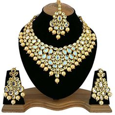 Jewelry & Watches Fashion Jewelry Objective 3pcs White Pearl Kundan Gold Polki Choker Necklace Set Bridal Bollywood Eid