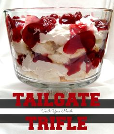 Tailgate Trifle - Cherry Cheesecake Trifle. Make this awesome game day dessert using your favorite pie filling (or a filling to match your team's colors).