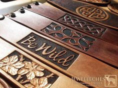 Risultato immagine per Dremel Wood Carving Projects Leather Carving, Leather Art, Leather Cuffs, Leather Tooling, Leather Jewelry, Leather Bracelets, Loom Bracelets, Custom Leather, Handmade Leather