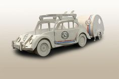 "VW Beetle ""Herbie"" theme single bed & tear drop desk/ put me up bed by Fun Furniture Collection."