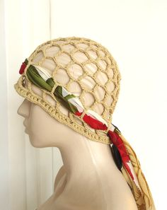 Womens Crochet Hat  Summer Beanie Hat  protect the hair wind brown wood and fine floral fabric.. $12.00, via Etsy.