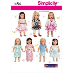 Simplicity Pattern 1484OS One Size -Crafts Doll Clothes