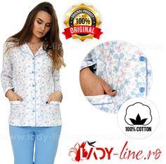 Pijama Dama Cu Nasturi, 'Blue Fantasy', M-M Nightwear Nightwear, Pajamas, The Originals, Lady, Cotton, Blue, Women, Fashion, Interiors