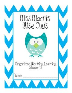 TeachersPayTeachers: Wise Owls Folder Cover