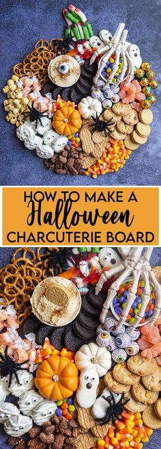#AD This Halloween Charcuterie board is full of Halloween treats and candy, and is so easy to throw together for a Halloween party or movie night. It can be totally customizable with your favorite Halloween treats, candies, and cookies. Don't forget the @oreo and #nutterbutter! #creepitreal