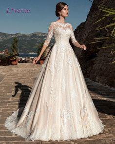 Loverxu Romantic Three Quarter A Line Lace Wedding Dresses 2016 Appliques Bohemian Vintage Bride Gown Robe De Marriage Plus Size