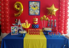 Decoracion De Fiestas Infantiles Mujer Maravilla - Pictures of Decor and Basement Wonder Woman Cake, Wonder Woman Birthday, Wonder Woman Party, 5th Birthday Party Ideas, Kids Birthday Themes, Girl Birthday, Party Themes, Anniversaire Wonder Woman, Girl Superhero Party