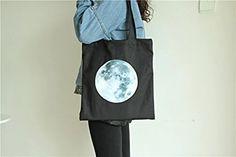 Amazon.com - ASAPS Black Printed Design Canvas Tote Bag with Handles - d2334d182d518