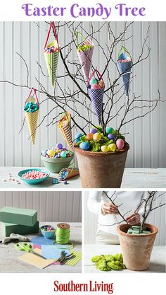 Easter Candy Tree | Display Easter sweets and treats with this nature-inspired candy tree. A terra-cotta pot, some florist foam, and scrapbook materials will have little ones thinking candy does grow on trees.
