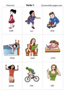 Picture cards Verbs. 7 sets different sizes. http://www.kids-pages.com/folders/flashcards/ It has many flashcards for grammar and topics in ELL, ESL