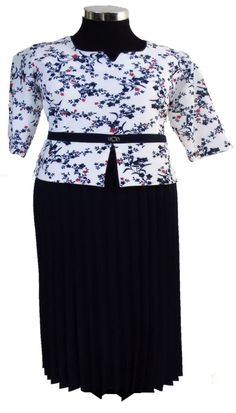 """Mutlu navy blue and white maxi pleated dress with red flowers"" Red Bodycon Dress, White Maxi Dresses, Navy Blue Dresses, Peplum Dress, White Dress, White Tops, Blue And White, Special Occasion Outfits, Pleated Maxi"