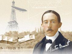 Santos Dumont e seu  avião 14 bis em Paris.