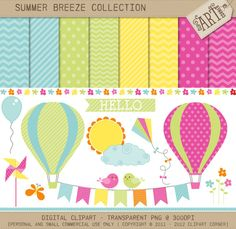 Clipart Combo - SB0 - Summer Breeze / Hot air balloons (CC-6899)