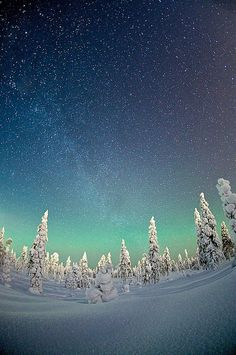 Northern lights - Under the starry sky of Rovaniemi, Finland: Winter wonderland by Teemu Lahtinen. id love to visit the northern lights Beautiful Sky, Beautiful World, Beautiful Places, Beautiful Pictures, Pretty Sky, Amazing Places, Winter Schnee, Photos Voyages, Thinking Day