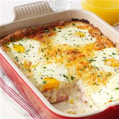 Ham, Egg & Cheese Casserole Recipe -Ham and cheese just got a little naughtier. I turned a French classic, <i>croque madame</i>, from a simple egg-topped grilled sandwich into an impossible-to-resist saucy casserole. —Melissa Millwood, Lyman, South Carolina
