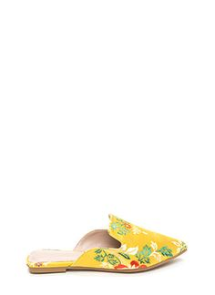 Floral Energy Pointy Satin Mule Flats