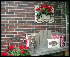 Love this, house number pillow, and the pops of red