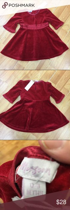 Monsoon Red Velour Dress NEW NWT 0-3 Mo Monsoon Red Velour Dress NEW NWT 0-3 Mo  Beautiful dress that can go from Christmas to Valentine's, no problem!  If it's a little short for V-Day, just put some leggings underneath!  Single button closure at neck.  #monsoon #new #Nwt #reddress #christmas #valentines #velour #holidayattire #christmascard #red Monsoon Dresses