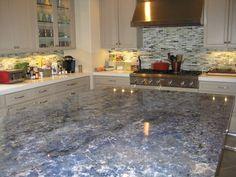 White Kitchen Cabinets Blue Granite Countertop Under Cabinet